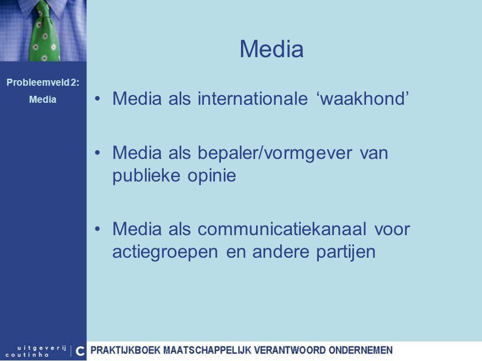 Media Media als internationale 'waakhond' Media als bepaler/vormgever van publieke opinie Media als communicatiekanaal voor actiegroepen en andere par