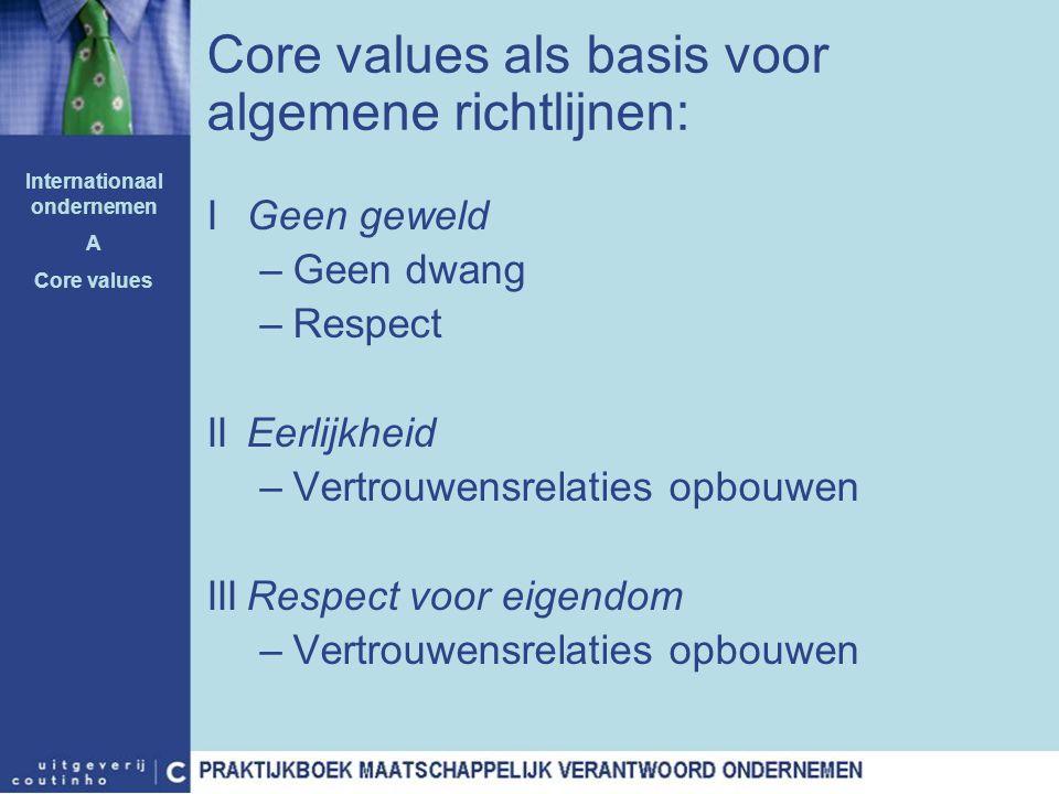 IGeen geweld –Geen dwang –Respect IIEerlijkheid –Vertrouwensrelaties opbouwen IIIRespect voor eigendom –Vertrouwensrelaties opbouwen Core values als b