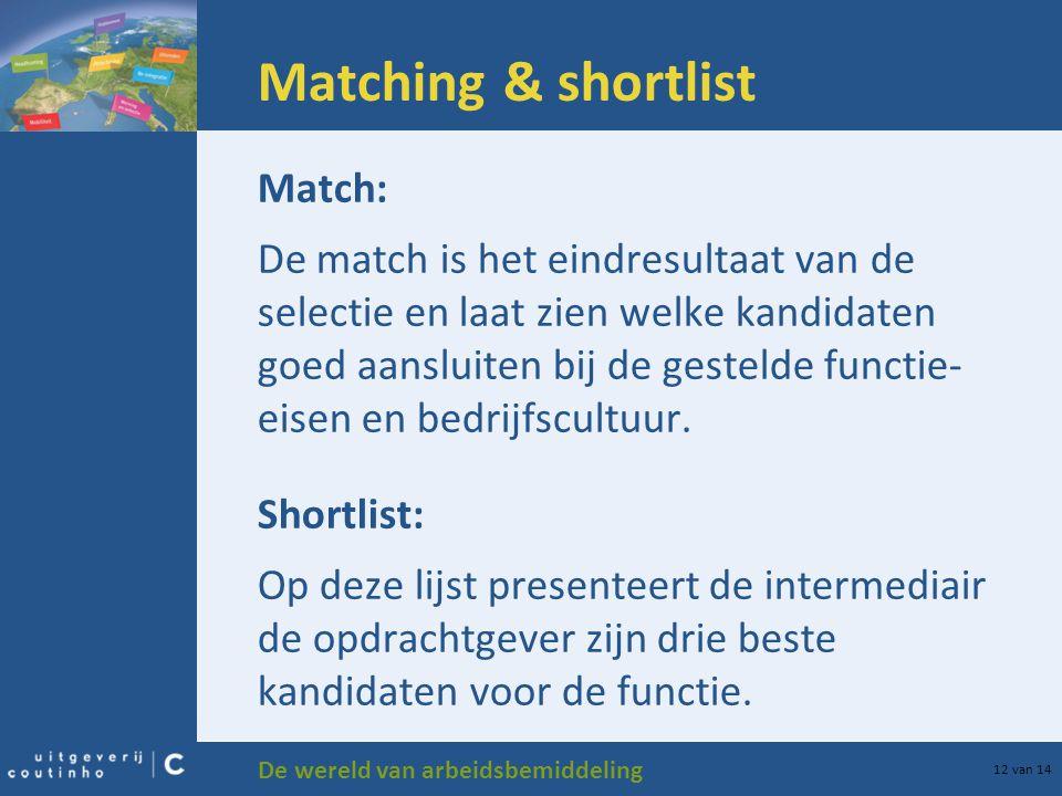 De wereld van arbeidsbemiddeling 12 van 14 Matching & shortlist Match: De match is het eindresultaat van de selectie en laat zien welke kandidaten goe