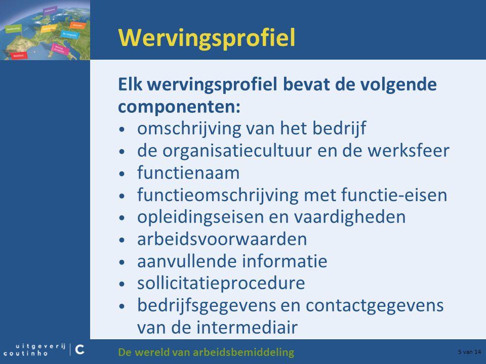 De wereld van arbeidsbemiddeling 5 van 14 Wervingsprofiel Elk wervingsprofiel bevat de volgende componenten: omschrijving van het bedrijf de organisat