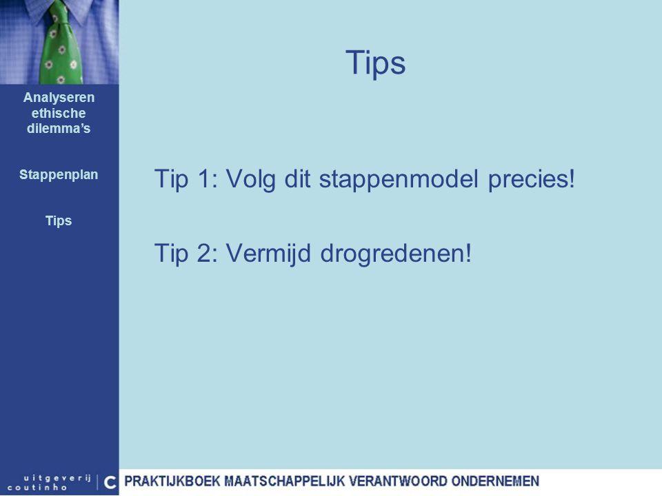 Tips Tip 1: Volg dit stappenmodel precies! Tip 2: Vermijd drogredenen! Analyseren ethische dilemma's Stappenplan Tips
