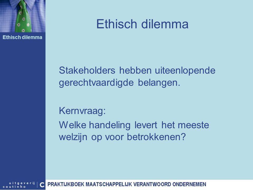Ethisch dilemma Stakeholders hebben uiteenlopende gerechtvaardigde belangen. Kernvraag: Welke handeling levert het meeste welzijn op voor betrokkenen?