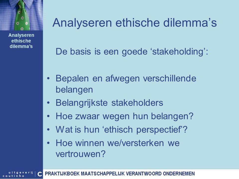 Analyseren ethische dilemma's De basis is een goede 'stakeholding': Bepalen en afwegen verschillende belangen Belangrijkste stakeholders Hoe zwaar weg