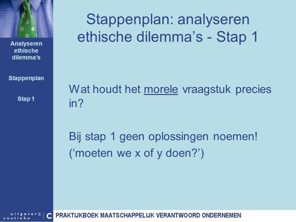 Stappenplan: analyseren ethische dilemma's - Stap 1 Wat houdt het morele vraagstuk precies in? Bij stap 1 geen oplossingen noemen! ('moeten we x of y