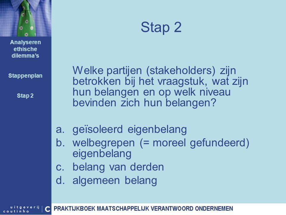 Stap 2 Welke partijen (stakeholders) zijn betrokken bij het vraagstuk, wat zijn hun belangen en op welk niveau bevinden zich hun belangen? a.geïsoleer