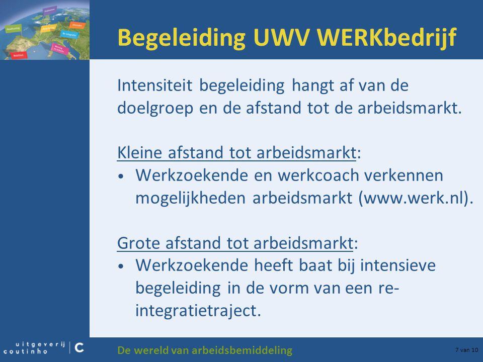 De wereld van arbeidsbemiddeling 7 van 10 Begeleiding UWV WERKbedrijf Intensiteit begeleiding hangt af van de doelgroep en de afstand tot de arbeidsma