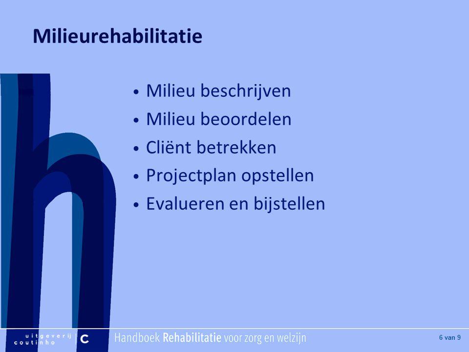 [Hier titel van boek] [Hier plaatje invoegen] 6 van 9 Milieurehabilitatie Milieu beschrijven Milieu beoordelen Cliënt betrekken Projectplan opstellen