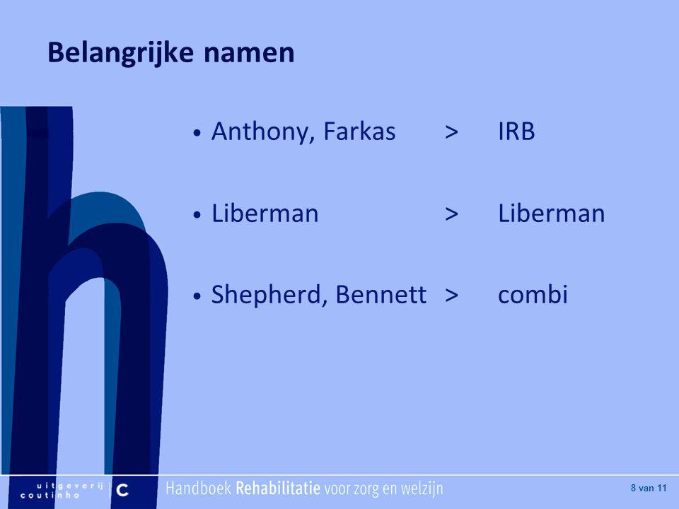 [Hier titel van boek] [Hier plaatje invoegen] 8 van 11 Belangrijke namen Anthony, Farkas >IRB Liberman>Liberman Shepherd, Bennett>combi