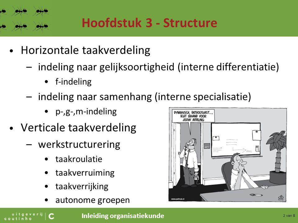 Inleiding organisatiekunde 3 van 8 Hoofdstuk 3 - Structure Omspanning –horizontaal spanwijdte (span of control): het aantal medewerkers aan wie men direct leiding geeft omspanningsvermogen: aantal medewerkers aan wie men direct leiding kan geven