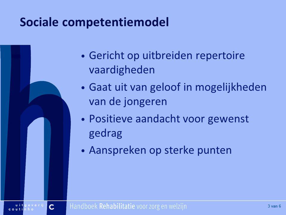 [Hier titel van boek] [Hier plaatje invoegen] 4 van 6 Sociale competentiemodel Uitbreiden repertoire praktische, sociale en cognitieve vaardigheden Ontwikkelingstaken: -Positie t.o.v.