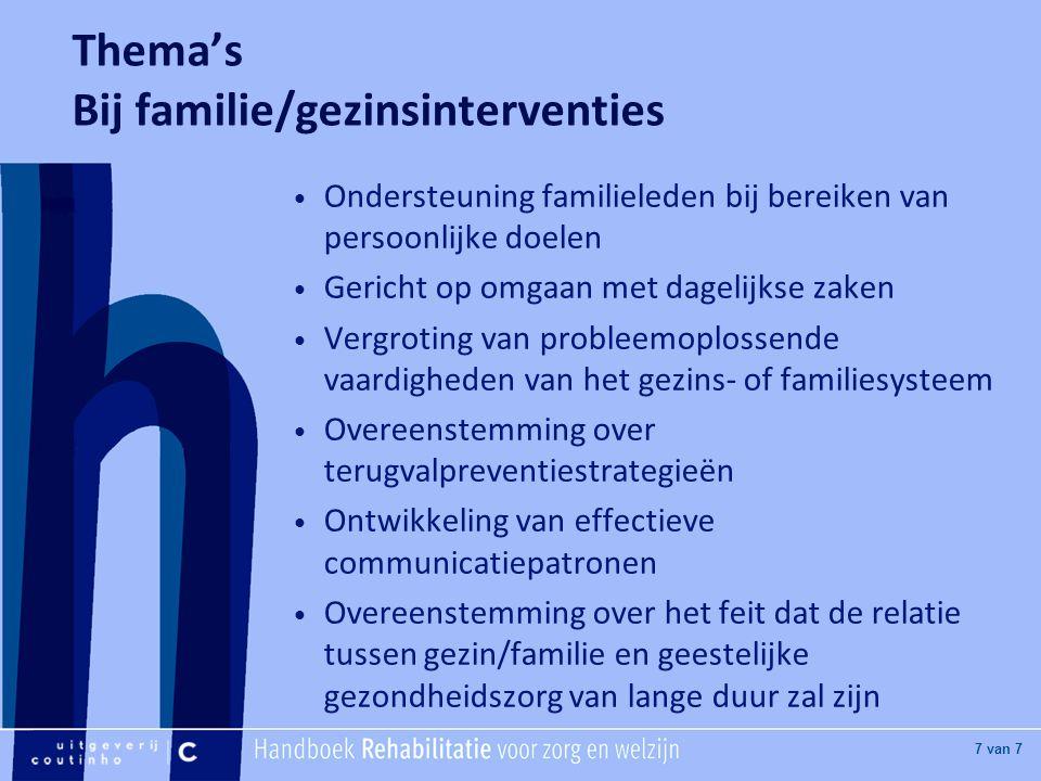 [Hier titel van boek] [Hier plaatje invoegen] 7 van 7 Thema's Bij familie/gezinsinterventies Ondersteuning familieleden bij bereiken van persoonlijke