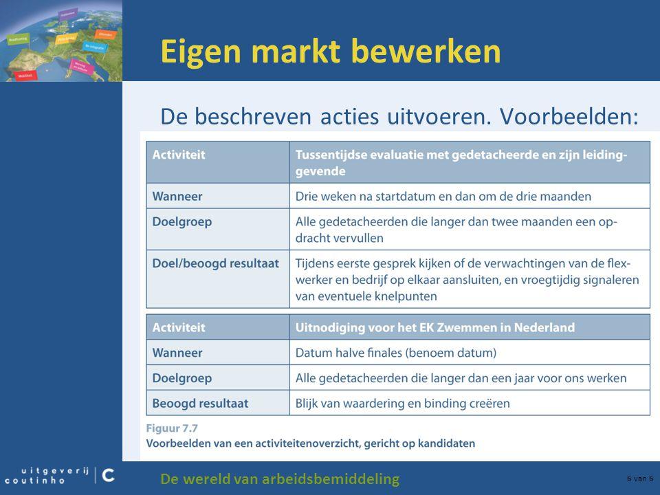 De wereld van arbeidsbemiddeling 6 van 6 Eigen markt bewerken De beschreven acties uitvoeren.
