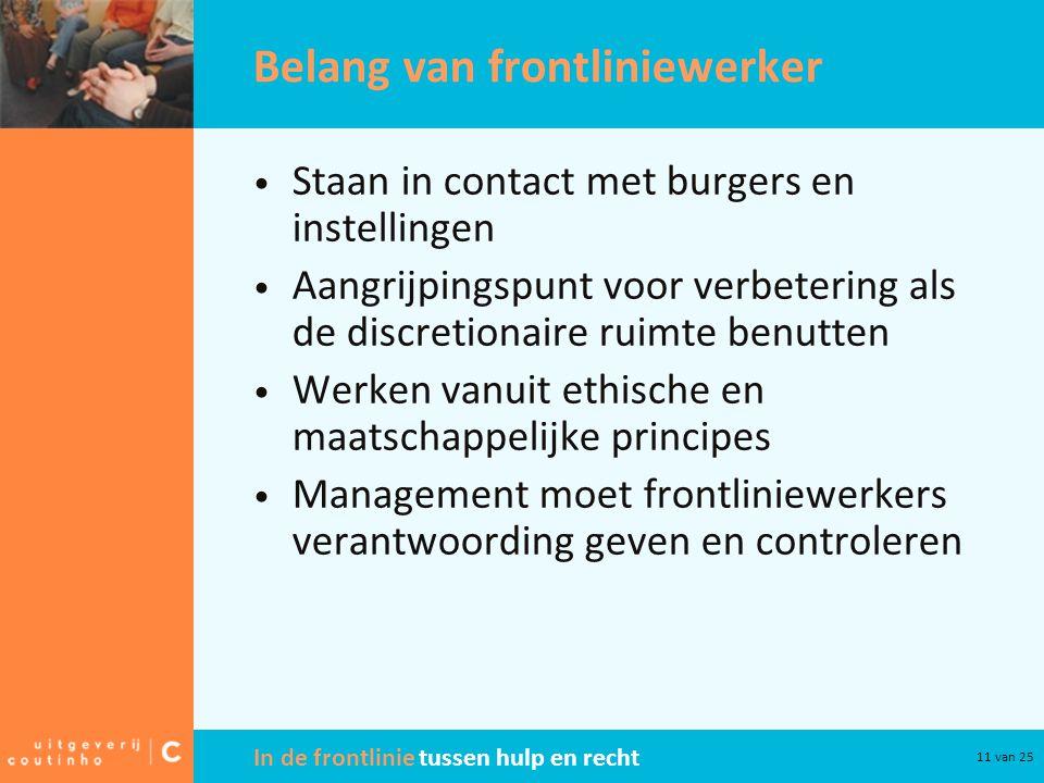 In de frontlinie tussen hulp en recht 11 van 25 Belang van frontliniewerker Staan in contact met burgers en instellingen Aangrijpingspunt voor verbete