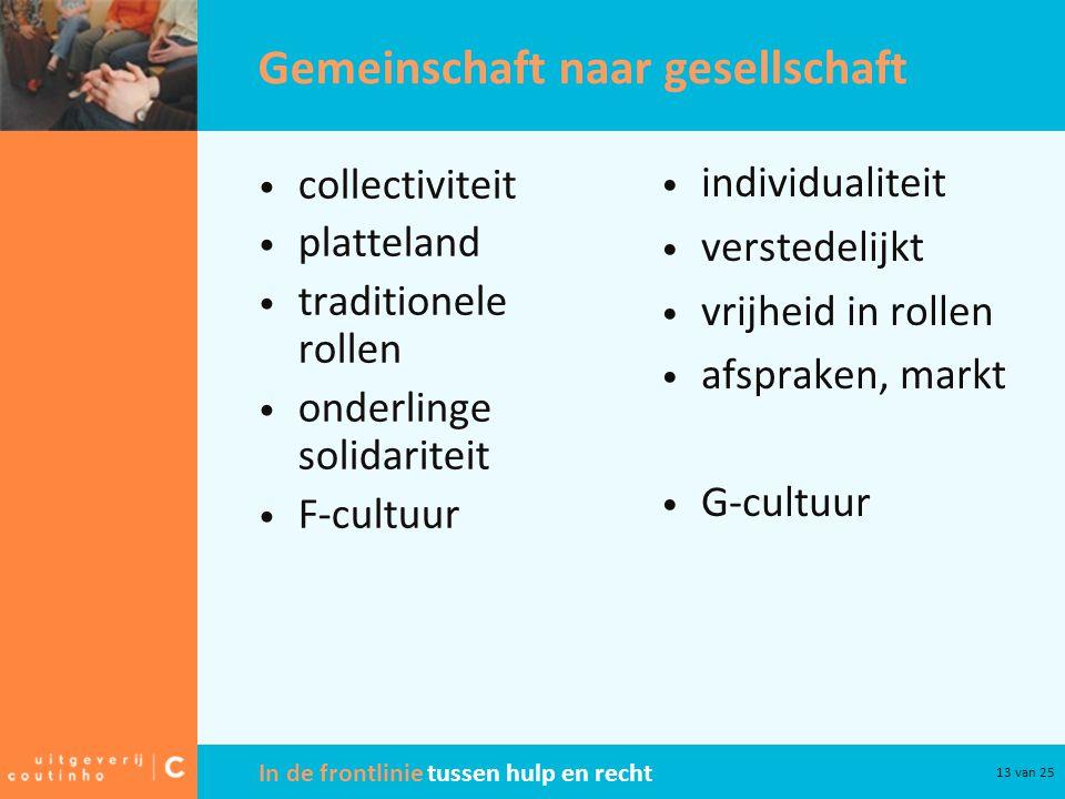 In de frontlinie tussen hulp en recht 13 van 25 Gemeinschaft naar gesellschaft collectiviteit platteland traditionele rollen onderlinge solidariteit F