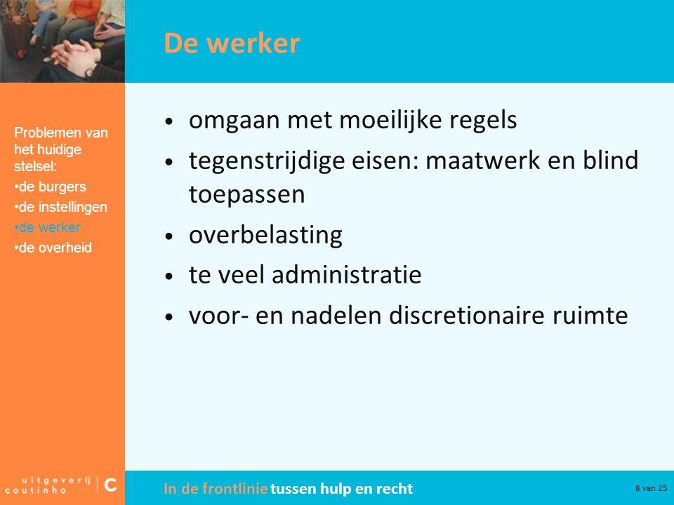 In de frontlinie tussen hulp en recht 8 van 25 De werker omgaan met moeilijke regels tegenstrijdige eisen: maatwerk en blind toepassen overbelasting t
