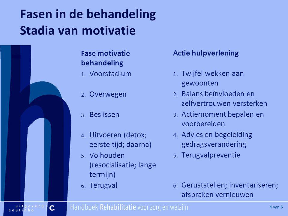 [Hier titel van boek] [Hier plaatje invoegen] 4 van 6 Fasen in de behandeling Stadia van motivatie Fase motivatie behandeling 1.