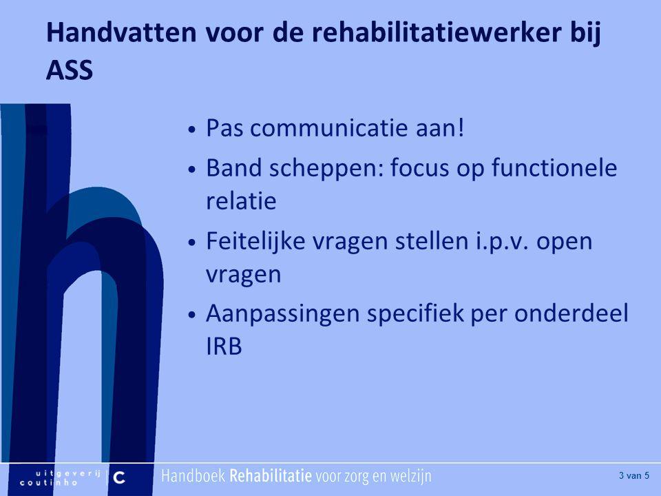 [Hier titel van boek] [Hier plaatje invoegen] 3 van 5 Handvatten voor de rehabilitatiewerker bij ASS Pas communicatie aan.