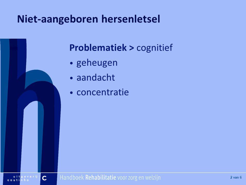 [Hier titel van boek] [Hier plaatje invoegen] 3 van 6 Niet-aangeboren hersenletsel Problematiek > snel vermoeid prikkelbaar minder initiatief problemen met onthouden problemen van de executieve functies (plannen, beginnen en stoppen)