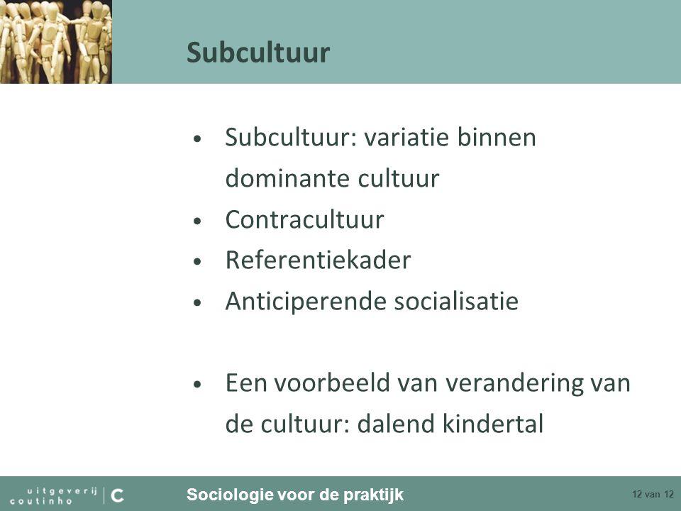 Sociologie voor de praktijk 12 van 12 Subcultuur Subcultuur: variatie binnen dominante cultuur Contracultuur Referentiekader Anticiperende socialisati