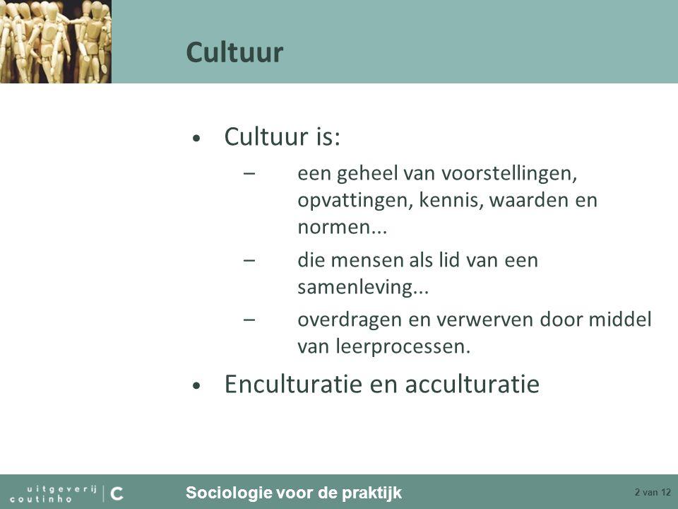 Sociologie voor de praktijk 2 van 12 Cultuur Cultuur is: –een geheel van voorstellingen, opvattingen, kennis, waarden en normen... –die mensen als lid