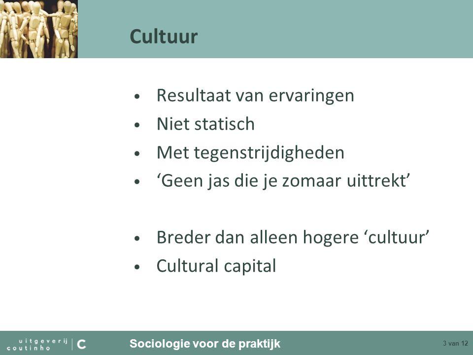 Sociologie voor de praktijk 3 van 12 Cultuur Resultaat van ervaringen Niet statisch Met tegenstrijdigheden 'Geen jas die je zomaar uittrekt' Breder dan alleen hogere 'cultuur' Cultural capital