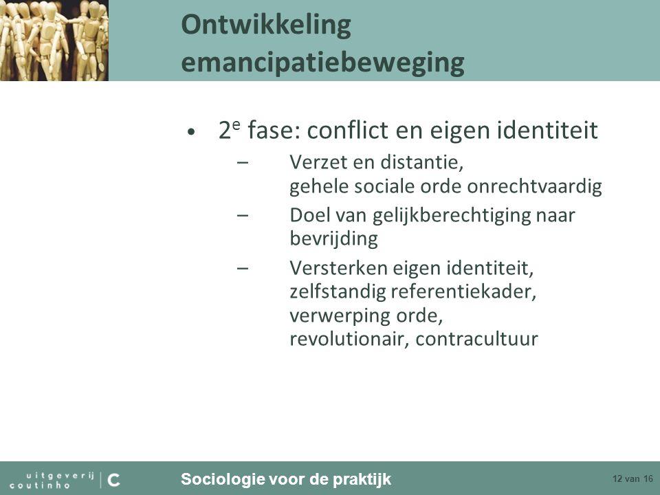 Sociologie voor de praktijk 12 van 16 2 e fase: conflict en eigen identiteit –Verzet en distantie, gehele sociale orde onrechtvaardig –Doel van gelijk