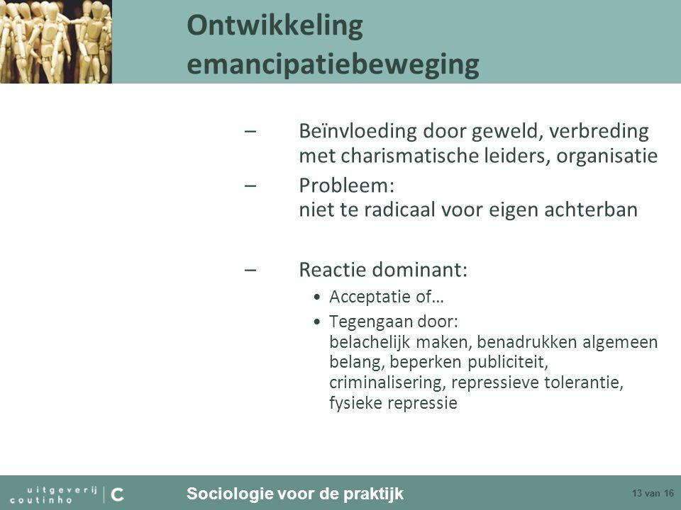 Sociologie voor de praktijk 13 van 16 Ontwikkeling emancipatiebeweging –Beïnvloeding door geweld, verbreding met charismatische leiders, organisatie –
