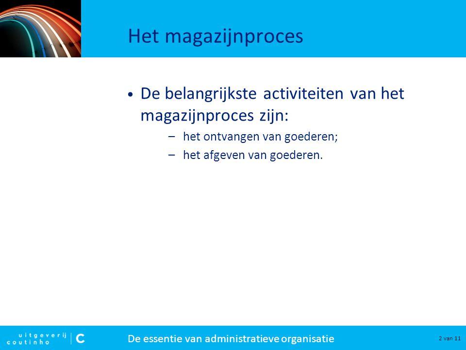 De essentie van administratieve organisatie 2 van 11 Het magazijnproces De belangrijkste activiteiten van het magazijnproces zijn: –het ontvangen van