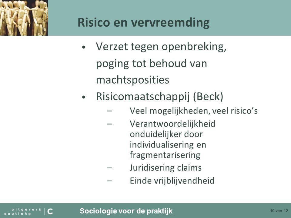 Sociologie voor de praktijk 10 van 12 Verzet tegen openbreking, poging tot behoud van machtsposities Risicomaatschappij (Beck) –Veel mogelijkheden, ve