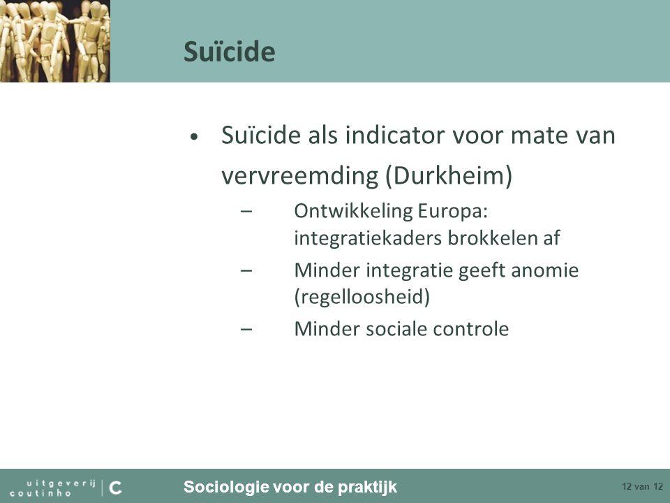 Sociologie voor de praktijk 12 van 12 Suïcide Suïcide als indicator voor mate van vervreemding (Durkheim) –Ontwikkeling Europa: integratiekaders brokk