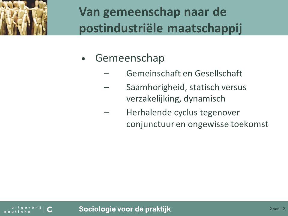 Sociologie voor de praktijk 2 van 12 Gemeenschap –Gemeinschaft en Gesellschaft –Saamhorigheid, statisch versus verzakelijking, dynamisch –Herhalende c