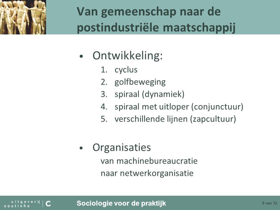 Sociologie voor de praktijk 8 van 12 Van gemeenschap naar de postindustriële maatschappij Ontwikkeling: 1.cyclus 2.golfbeweging 3.spiraal (dynamiek) 4