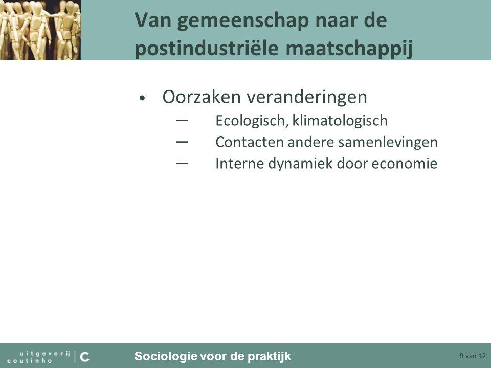 Sociologie voor de praktijk 9 van 12 Van gemeenschap naar de postindustriële maatschappij Oorzaken veranderingen ─ Ecologisch, klimatologisch ─ Contac