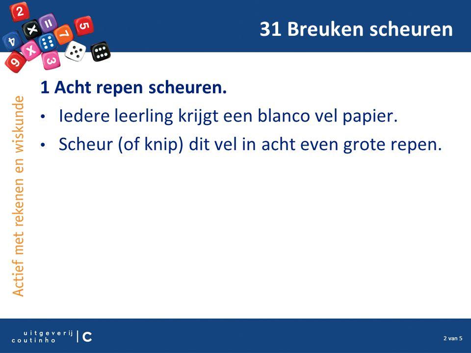 2 van 5 31 Breuken scheuren 1 Acht repen scheuren. Iedere leerling krijgt een blanco vel papier. Scheur (of knip) dit vel in acht even grote repen.