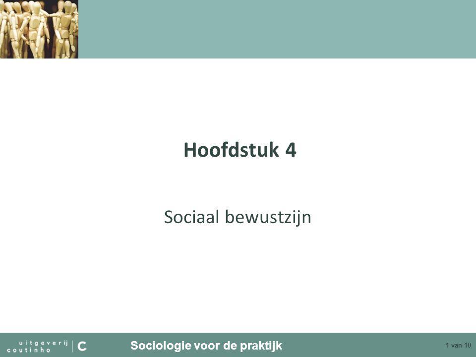 Sociologie voor de praktijk 2 van 10 Sociaal bewustzijn Sociaal bewustzijn is het bewustzijn van je sociale positie in de samenleving Definitie van de situatie: benadering van de situatie, beïnvloed door sociaal bewustzijn Sociaal bewustzijn bepaalt gedrag