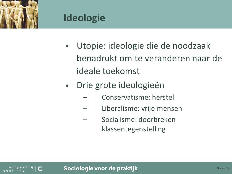 Sociologie voor de praktijk 9 van 10 Ideologie Rechts en links, conservatief en progressief Combinaties met nationalistische, etnische of godsdienstige mengvorm