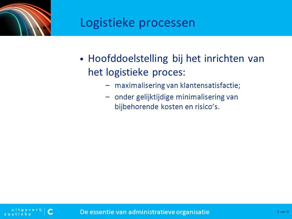 De essentie van administratieve organisatie 3 van 9 Logistieke processen Hoofddoelstelling bij het inrichten van het logistieke proces: –maximalisering van klantensatisfactie; –onder gelijktijdige minimalisering van bijbehorende kosten en risico's.