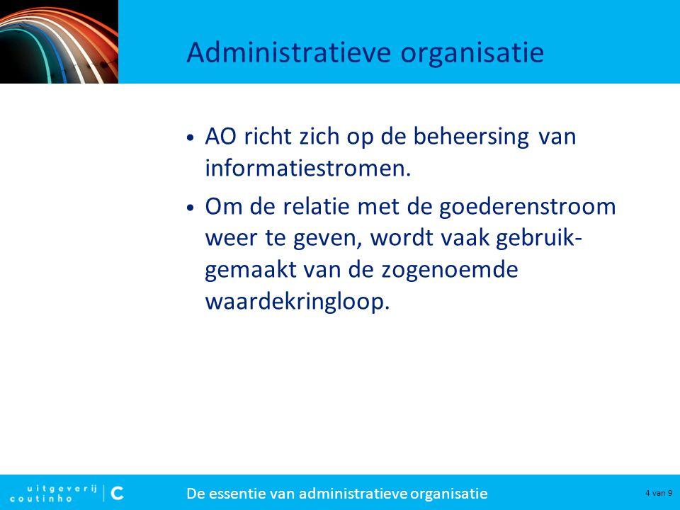 De essentie van administratieve organisatie 4 van 9 Administratieve organisatie AO richt zich op de beheersing van informatiestromen. Om de relatie me