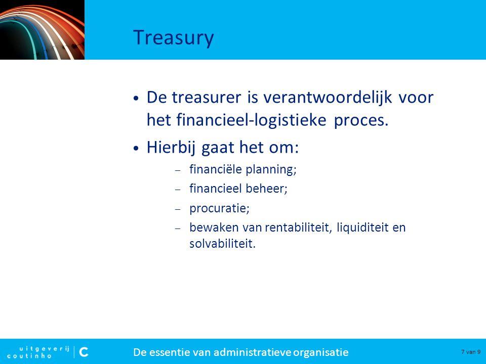 De essentie van administratieve organisatie 7 van 9 Treasury De treasurer is verantwoordelijk voor het financieel-logistieke proces. Hierbij gaat het
