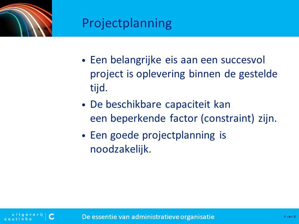 De essentie van administratieve organisatie 4 van 8 Projectplanning Een belangrijke eis aan een succesvol project is oplevering binnen de gestelde tij