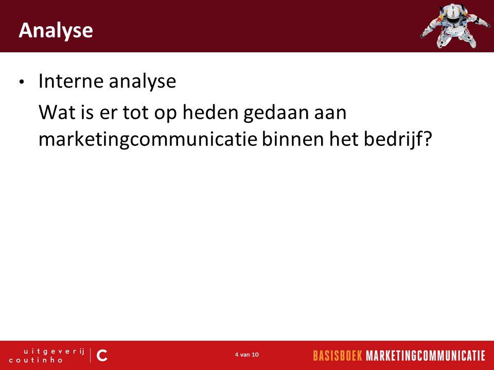 4 van 10 Analyse Interne analyse Wat is er tot op heden gedaan aan marketingcommunicatie binnen het bedrijf?