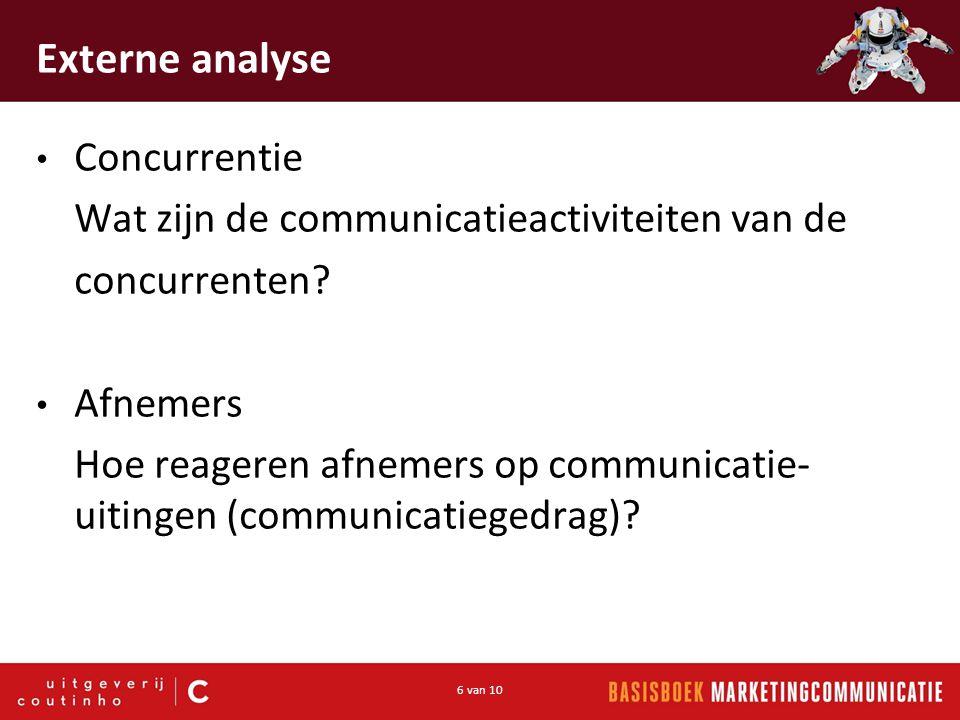 6 van 10 Externe analyse Concurrentie Wat zijn de communicatieactiviteiten van de concurrenten.