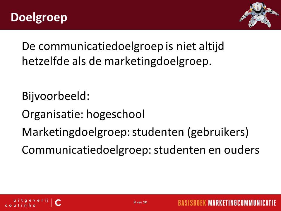 8 van 10 Doelgroep De communicatiedoelgroep is niet altijd hetzelfde als de marketingdoelgroep.