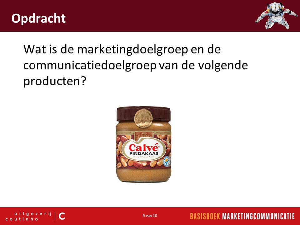 9 van 10 Opdracht Wat is de marketingdoelgroep en de communicatiedoelgroep van de volgende producten?