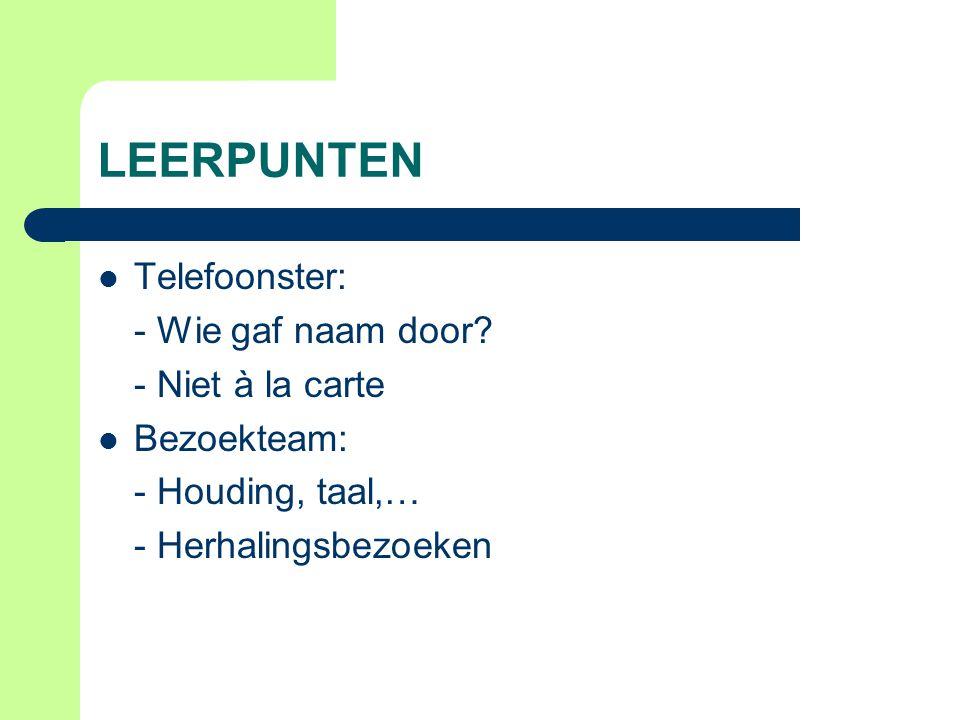 EN NU.Voortdoen Opvolging huisbezoeken Nieuwe oproep telefoonster.