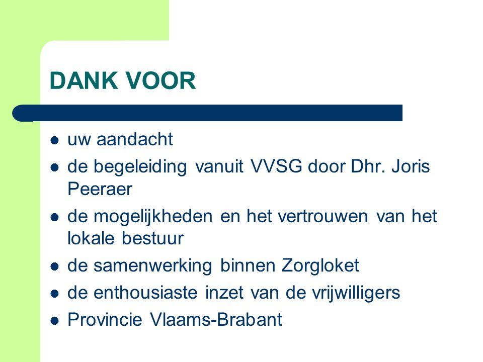 DANK VOOR uw aandacht de begeleiding vanuit VVSG door Dhr. Joris Peeraer de mogelijkheden en het vertrouwen van het lokale bestuur de samenwerking bin
