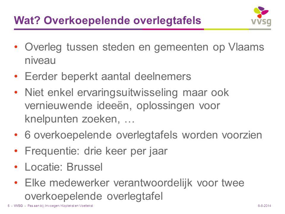 VVSG - Wat? Overkoepelende overlegtafels Overleg tussen steden en gemeenten op Vlaams niveau Eerder beperkt aantal deelnemers Niet enkel ervaringsuitw