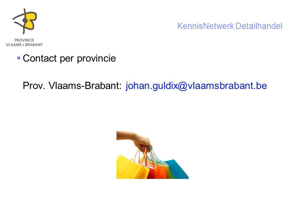 14 KennisNetwerk Detailhandel  Contact per provincie Prov.
