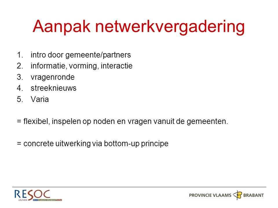 Aanpak netwerkvergadering 1.intro door gemeente/partners 2.informatie, vorming, interactie 3.vragenronde 4.streeknieuws 5.Varia = flexibel, inspelen op noden en vragen vanuit de gemeenten.