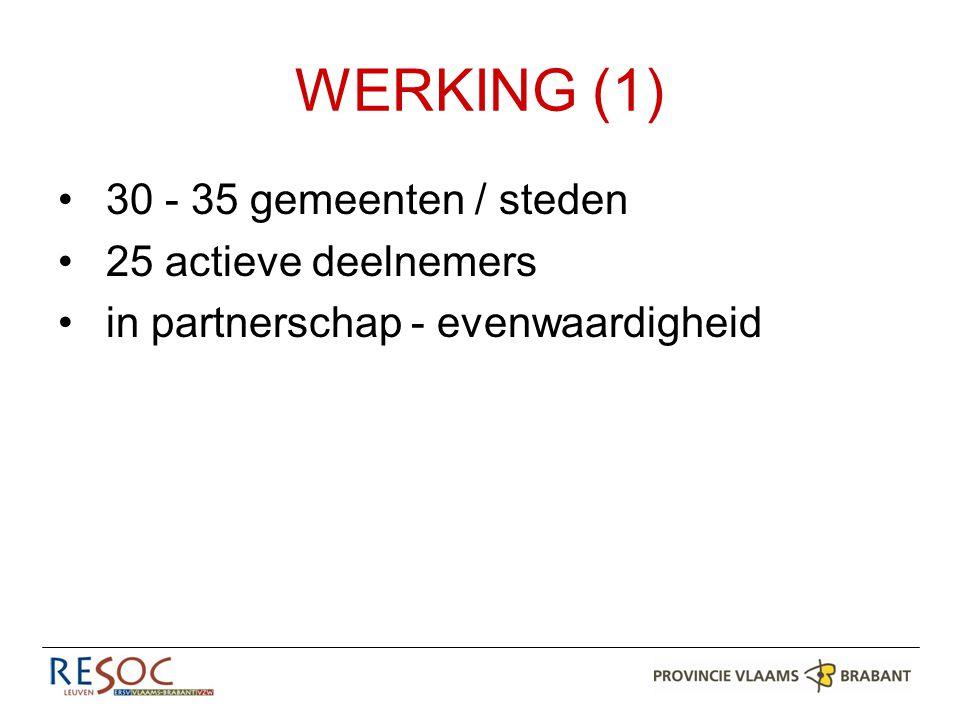 WERKING (2) Rol ambtenaar lokale economie in gemeente75% Gegevensbeheer economie75% Uitbouwen van een dienst lokale economie62% E-loket voor ondernemers62% Samenwerking met ondernemers56% Subsidiemogelijkheden ondernemers44% Intergemeentelijke samenwerking rond economie44% Lokale bedrijventerreinen37% Opstarten van een ondernemersloket37% Agentschap ondernemen31% Lokale werkgelegenheid31% Vergunningen31%
